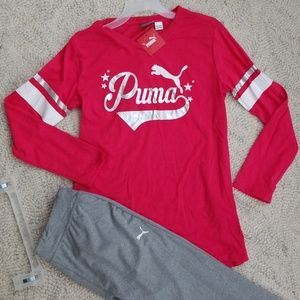 Girls Pink and Gray Puma set